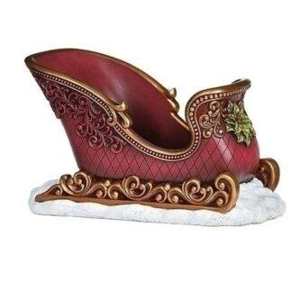 Vintage Red Resin Sleigh Vas or Card holder
