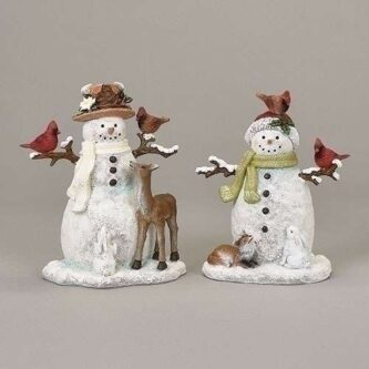 Snowmen Figurines with Fawn, White Bunnies, fox and birds Sold individually