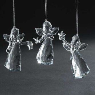 Acrylic Angels Three Styles holding a lantern, a dove or a star