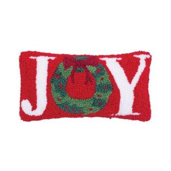 Joy Wreath Hooked Pillow