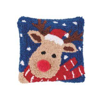 Christmas Reindeer Hooked Pillow