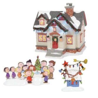 Dept. 56 Snow Village Christmas Lane The Peanuts House Tribute Three Piece Set