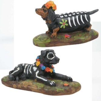 Dept. 56 Day of the Dead Decorated dogs