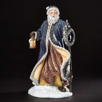 Santa with Blue Coat and LED Lantern with Wreath