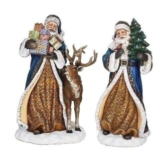 Elegant Santas with a stack of presents or a tree