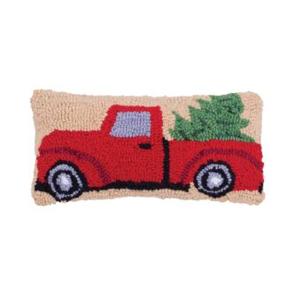 Christmas Truck Hooked Pillow