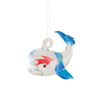 I swallowed a fish ornament Whale with orange fish inside Glass