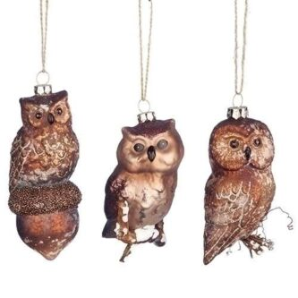 Cooper Colored Owl Ornaments Three styles On Acorn, Smooth Owl, Owl on Natural Branches