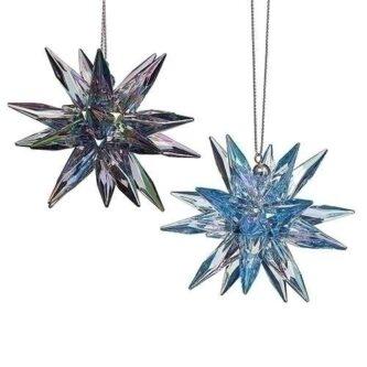 Starburst onament in 3D Dark blue purple and Ice Blue
