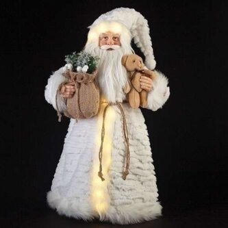 Standing lit Santa Figurine with Fluffy white coat and Teddy Bear