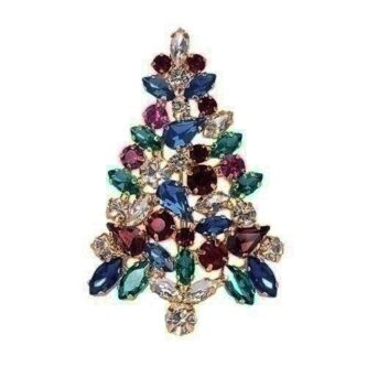 Crystal Christmas Tree Pin Multiple colors