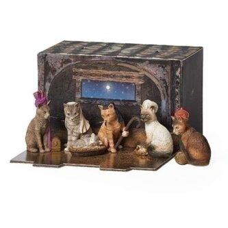 Cat Christmas Pageant Nativity Display