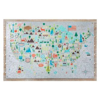 Wall Map with icons for each states special things