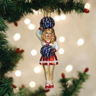 Old World Christmas Cheerleader blown glass ornament