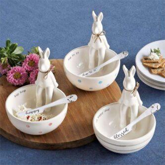 Ceramic Sitting Bunny Dip Bowl with Spreader