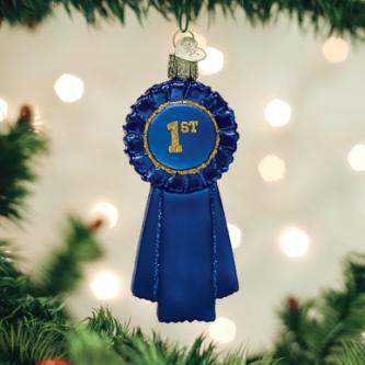 Old World Christmas Blue Ribbon Ornament