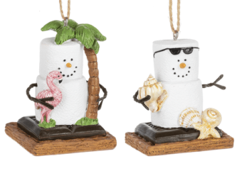 Coastal S'mores ornament one with palm tree and one with shells