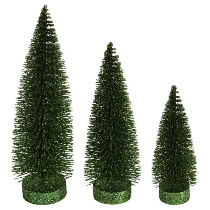 Moss Green Trees for village three sizes glitter base
