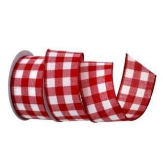 Red and White Check Ribbon