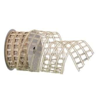 Knitted net ribbon silver or champagne gold