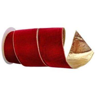 Burgundy Velvet and Gold Ribbon