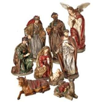 Nine piece Nativity in aged Colors