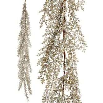 """48"""" Glitter and Sequin Artemesia Garland in Gold, White or Platinum"""