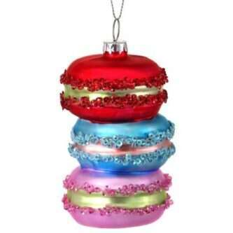 Stack of Macaron cookies ornament glass