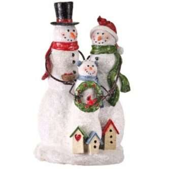 Family of Three Snowmen with Bird Houses and cardinal