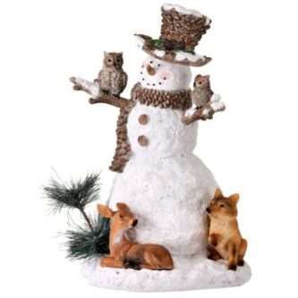Forest Snowman Figurine with Fox, Deer and Owls