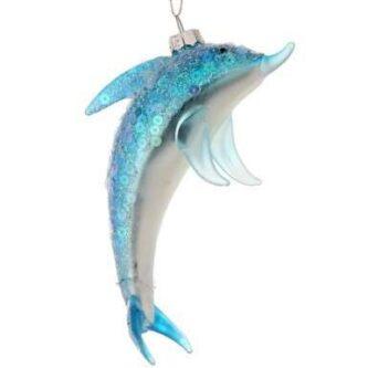 Glitter and Sequin Dolphin Ornament