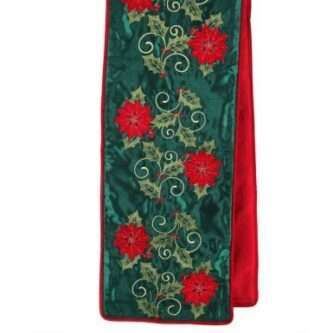 Embroidered Table Runner with Poinsettias and Holly on a Green Velvet Background