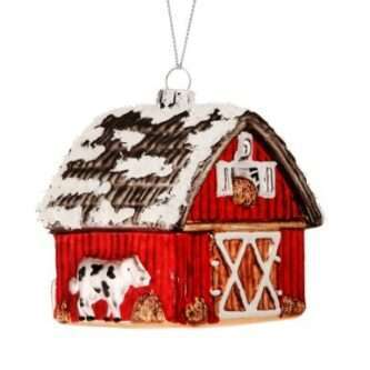 Winter Barn with Cow Ornament