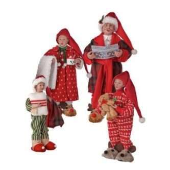 Set of Four Family Members Chillin and Caroling at home. Fabric Soft Sculpture