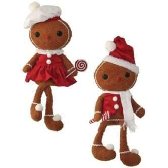 Gingerbread shelf Sitters Boy or Girl with Peppermint Candy