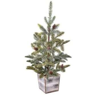 English Fir Tree in Wood mdf planter unlit with pinecones