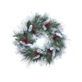 """Frosted Wreath with Pinecones and red berries 30"""""""