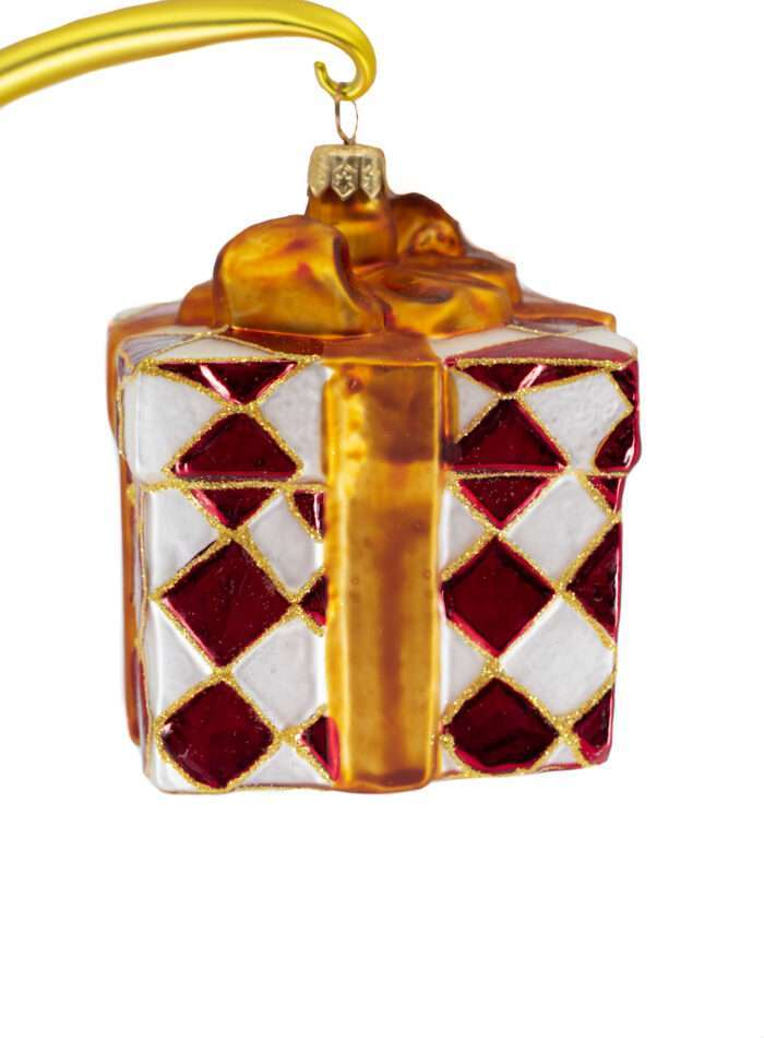 Radko Rare Retired Pretty Papers Red Package Ornament