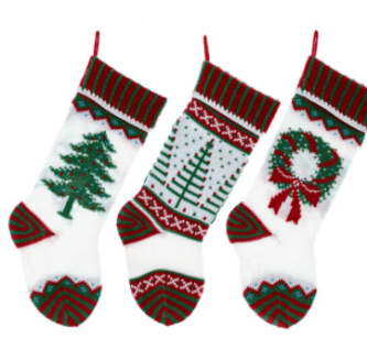 Red White and Green Knit Christmas Stockings Choose style tree, modern trees or wreath