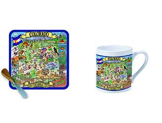 Colorado Cheese plate or Mug with landmarks