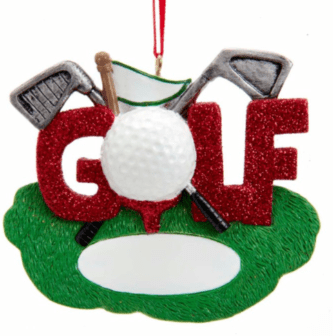 Golf Ornament with the word golf and accessories