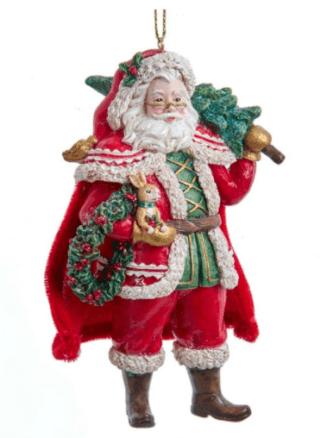 Retro Look Woodland Santa Ornament