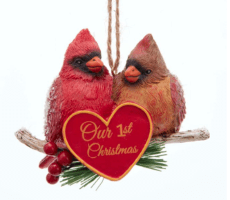 """Birch Berry """"Our 1st Christmas"""" Cardinal Couple Ornament Personalized"""