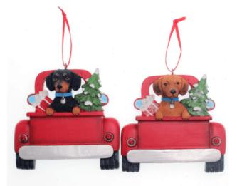 dachshund in truck ornament