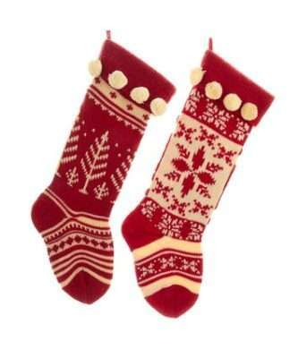 Red and white stockings with snowflake and tree