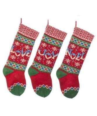 Love, Joy or Noel Christmas Stocking