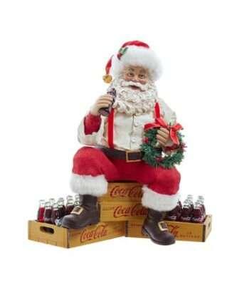 "9"" Coca-Cola® Fabriché™ Santa Sitting on Crates"