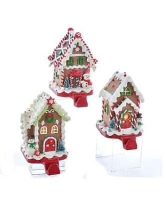 Battery-Operated Gingerbread Candy House Lighted Stocking Hangers, 3 Assorted