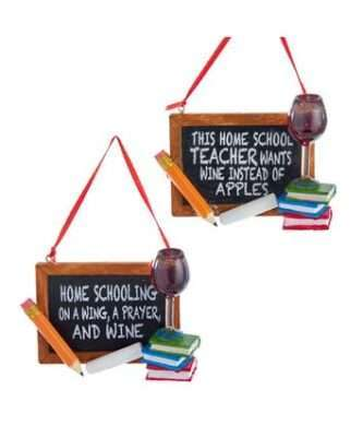 Home School and wine Ornament, 2 assorted