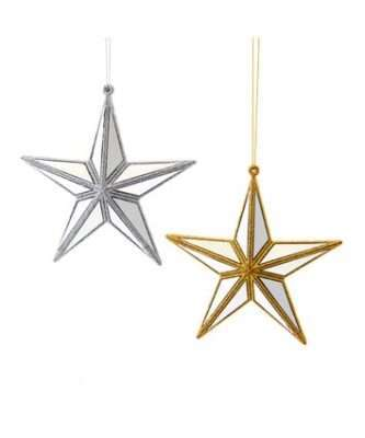 Gold and Silver Mirror Star Ornaments, 2 Assorted